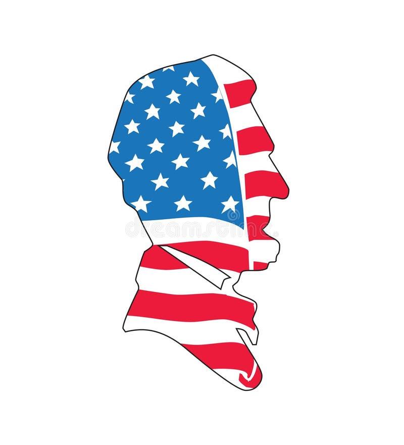 Abraham Lincoln na bandeira americana ilustração royalty free