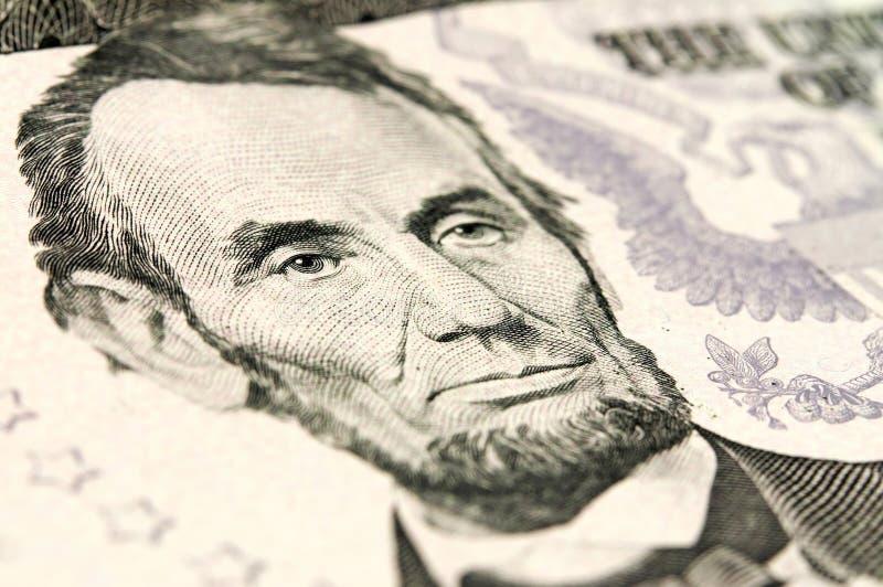 Abraham Lincoln nos cinco dólares novo imagens de stock