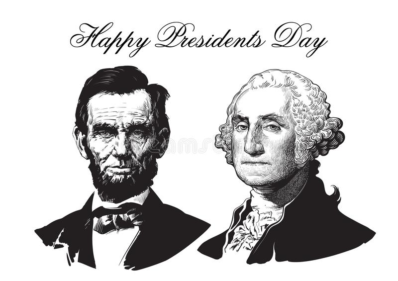 Abraham Lincoln och George Washington royaltyfri illustrationer