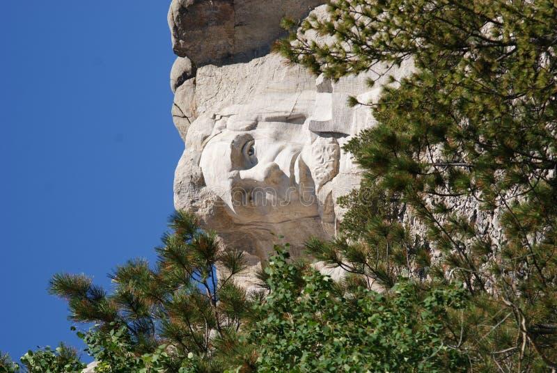 Abraham Lincoln olha para fora de sua posição do Mt Rushmore imagens de stock