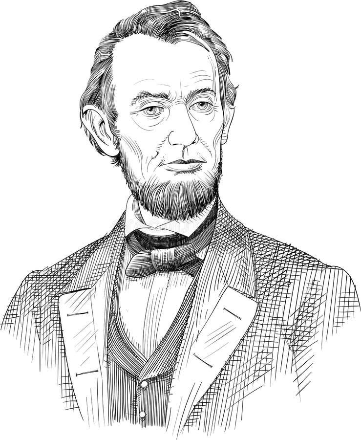 Abraham Lincoln portrait in line art illustration vector vector illustration