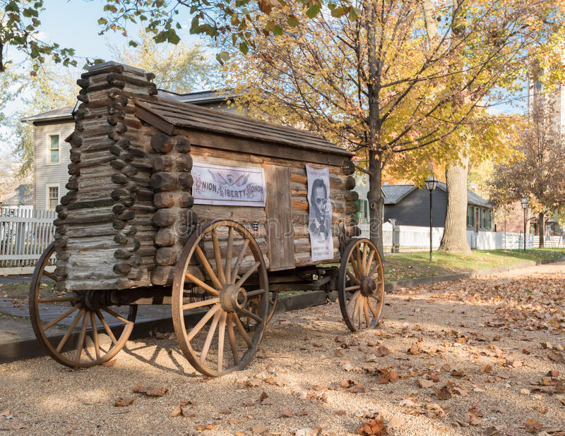 Abraham Lincoln Presidential Campaign Log Cabin Wagon stock photos