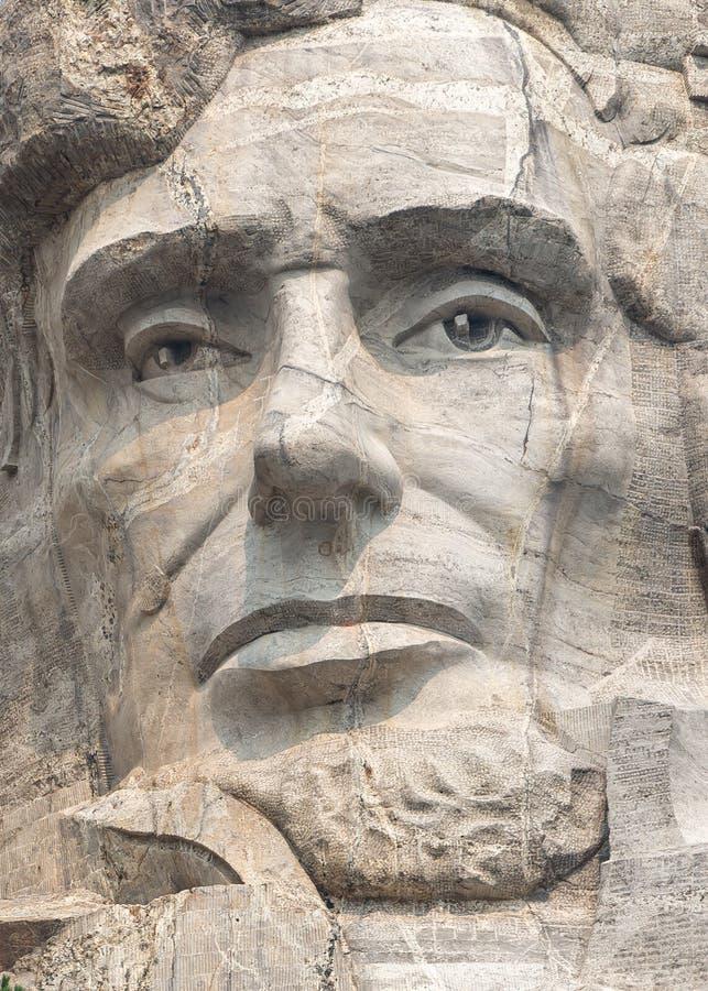 Abraham Lincoln se cierra para arriba en la escultura conmemorativa nacional del monte Rushmore imagen de archivo