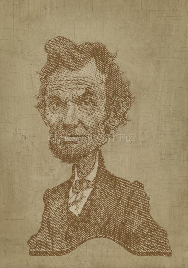 Abraham Lincoln sepia caricature engraving style royalty free stock photography
