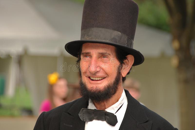 Abraham Lincoln smiling. Actor William Truman Peck portraying President Abraham Lincoln at the 21st Annual Civil War Revisited at Kearney Park in Fresno stock photo