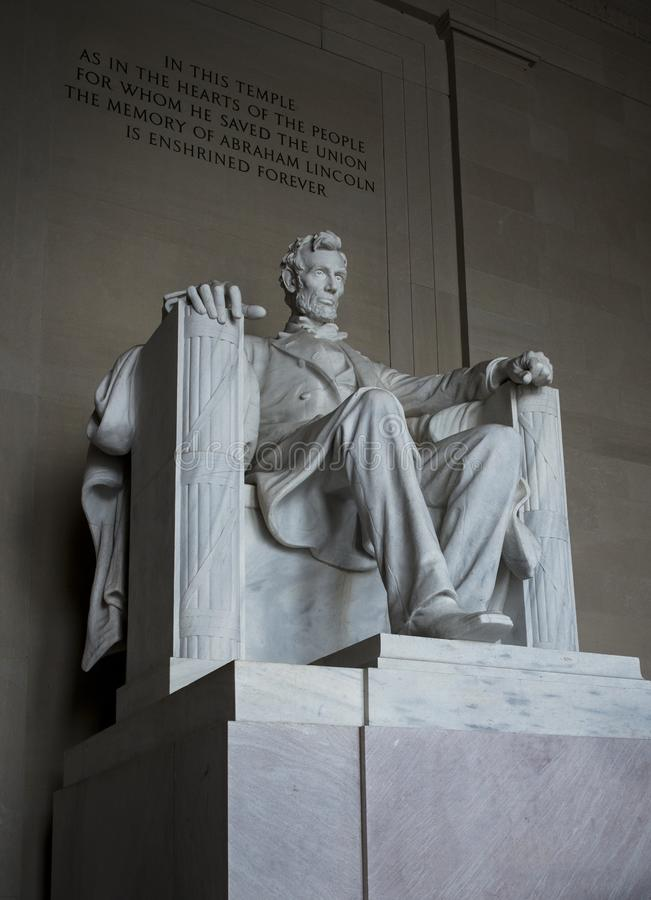 Abraham Lincoln-standbeeld in Lincoln Memorial in Washington DC de Verenigde Staten van Amerika stock afbeeldingen