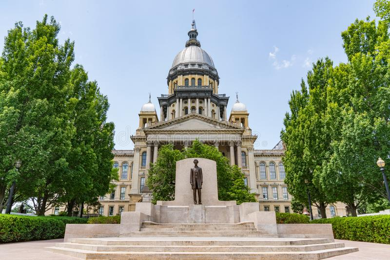 Illinois State Capital Building. Abraham Lincoln statue in front of the Illinois State Capital Building in Springfield, Illinois stock photo
