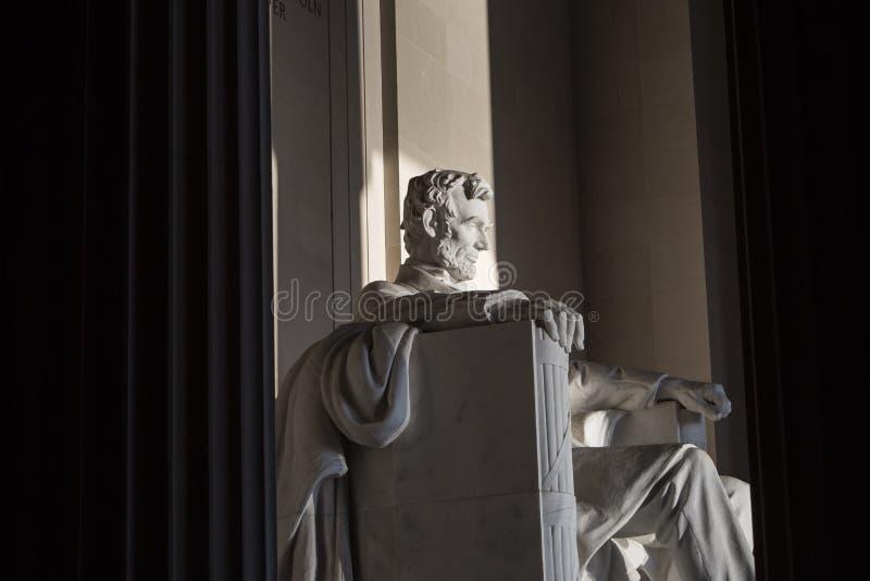 Abraham Lincoln Statue at Memorial monument Washington DC. And columns stock photos
