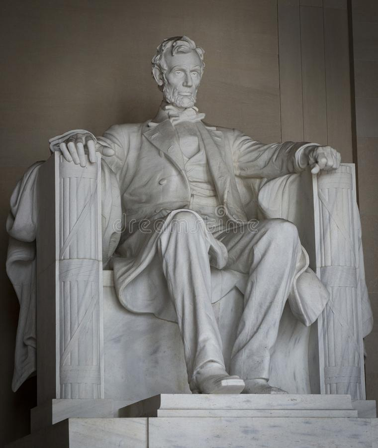 Abraham Lincoln statue at the Lincoln Memorial in Washington DC United States of America royalty free stock photo