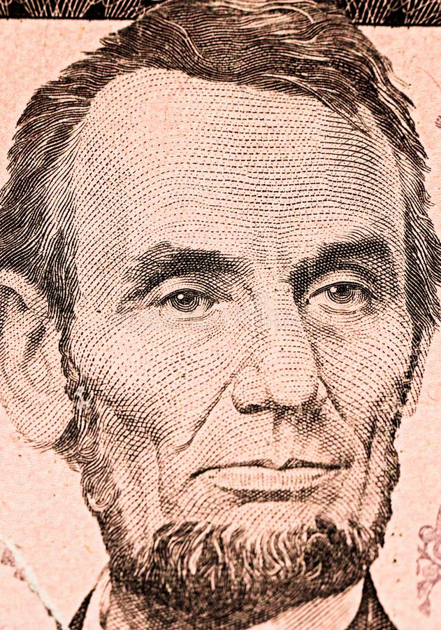 Abraham Lincoln sur le billet de cinq dollars photos libres de droits