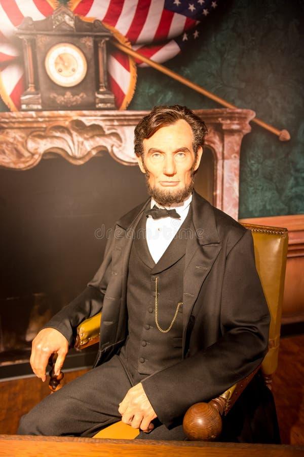Abraham Lincoln vaxdiagram på madamen Tussauds San Francisco royaltyfri foto