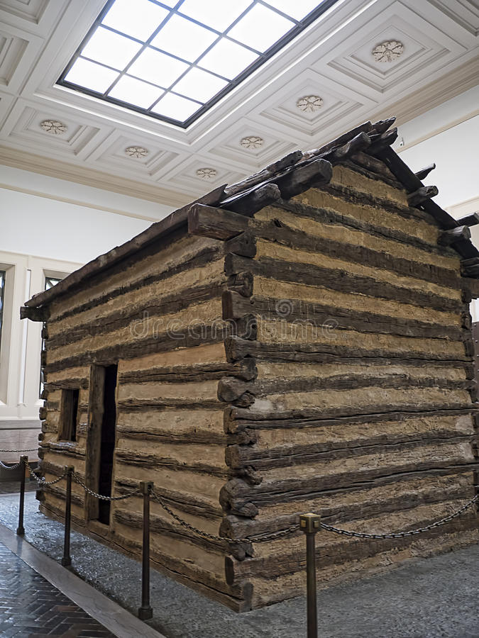 Abraham Lincolns Log Cabin home in Bardstown Kentucky USA. Inside the Lincoln Memorial at Sinking Spring Bardstown Kentucky USA it is the former home of US royalty free stock photos