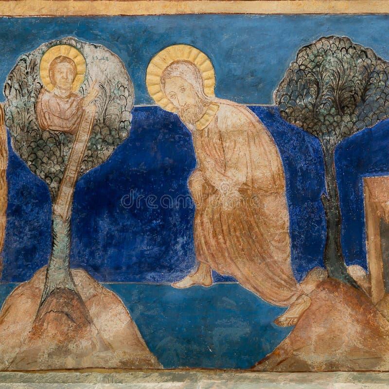 Abraham-` s Opfer Romanisches Wandbild lizenzfreie stockbilder