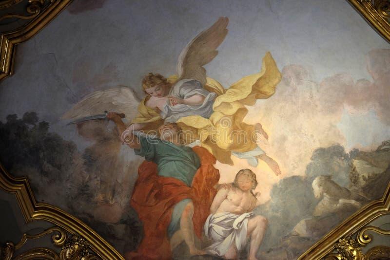 Abraham sacrifices Isaac, fresco in Church Santa Maria Maggiore in Florence. Tuscany, Italy stock image