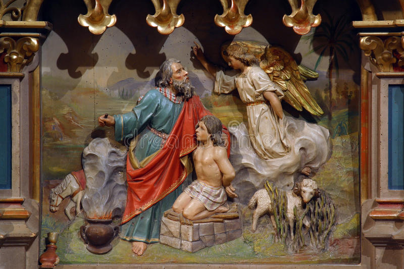 Abraham Sacrificing Isaac. Church altar royalty free stock image