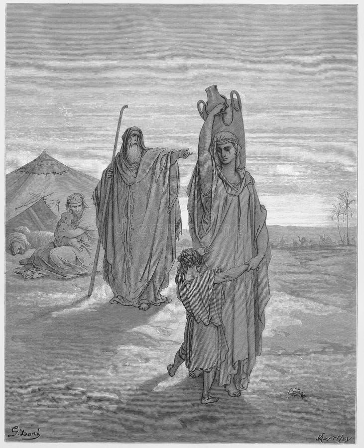 Abraham sendet Hagar und Ishmael weg vektor abbildung