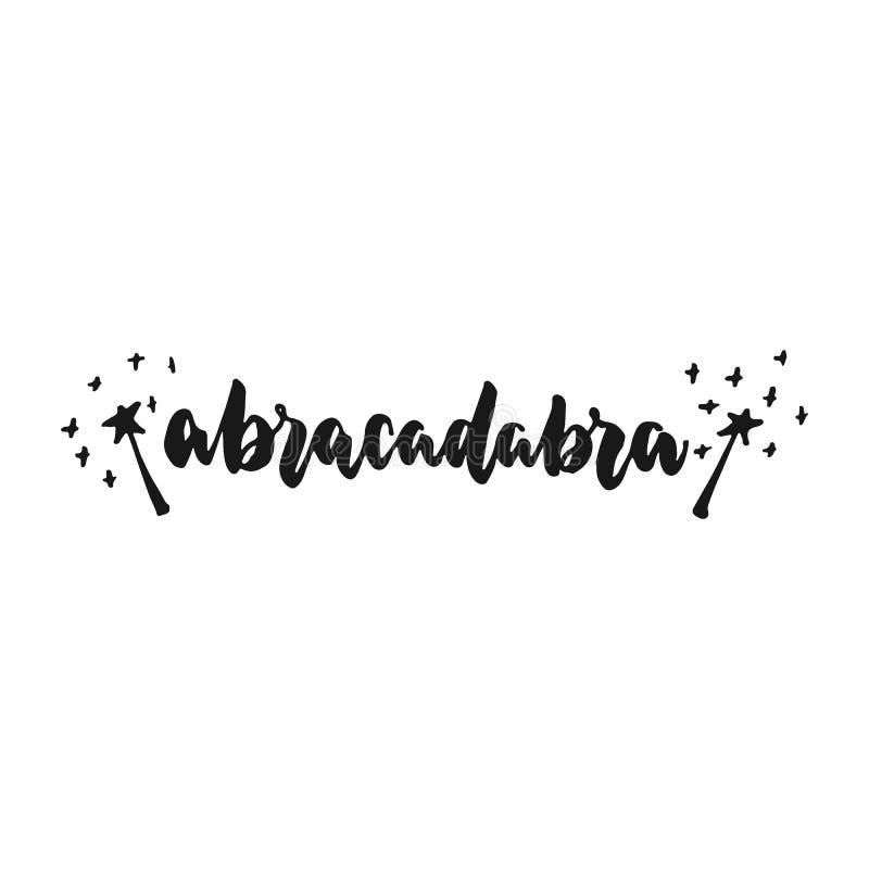 Abrakadabra - ręka rysujący literowanie zwrot odizolowywający na białym tle Zabawa atramentu szczotkarska inskrypcja dla fotograf royalty ilustracja
