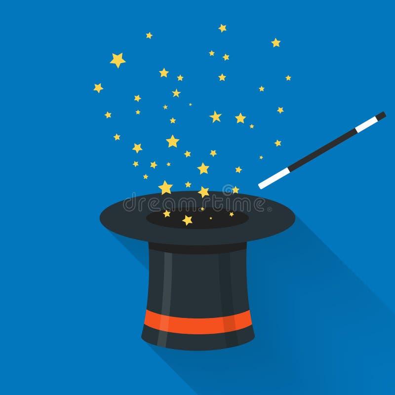 Abrakadabry kreskówki pojęcie Magiczna różdżka z gwiazdami iskrzy nad czarnej magii kapelusz Abrakadabra płaski projekt ilustracja wektor