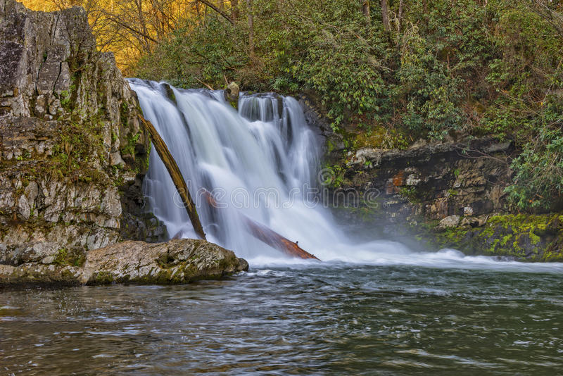 Abrams Falls At Cades Cove. In The Great Smoky Mountain National Park taken at a slow shutter speed to blur the water motion stock photos