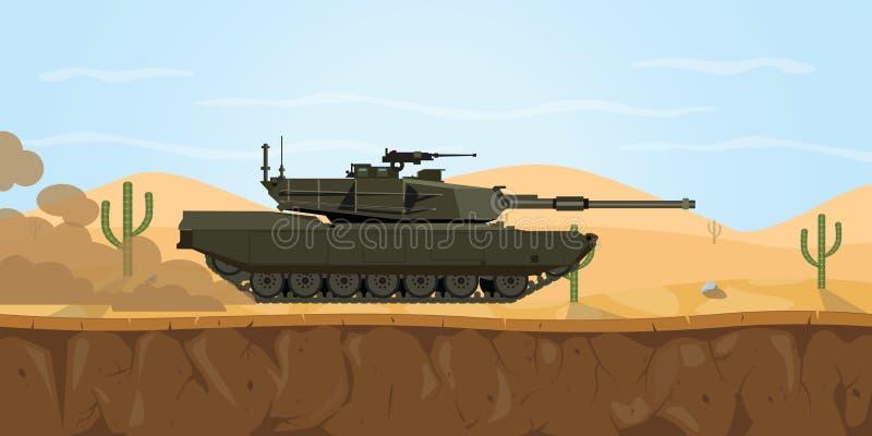 Abrams M1 Behälter-USA-Hauptpanzer auf der Wüste mit Dunstrauche auf der Straße lizenzfreie abbildung