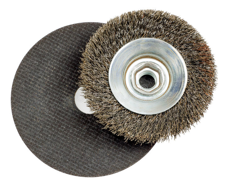 Abrasive disc and wire wheel. Wire wheel and abrasive disc to be used with small angle grinders royalty free stock photos