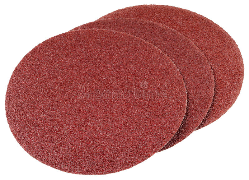 Abrasive discs. For grinding and cleaning of metal, wood, paint and other materials. Isolated on white background royalty free stock photo