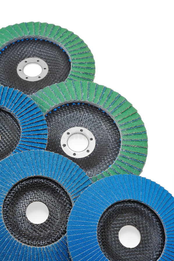 Abrasive disks for grinder isolated on white stock photos