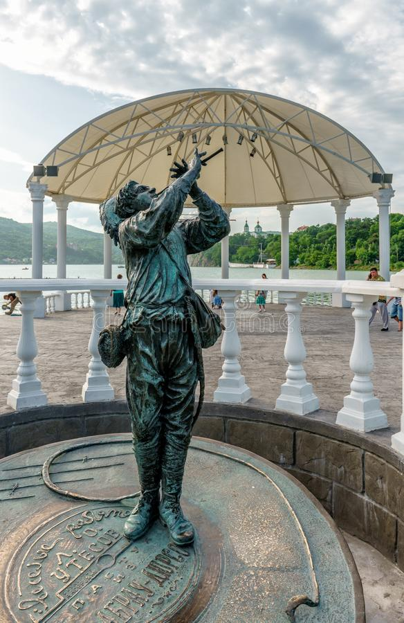 Abrau-Dyurso, Russia - June 15, 2016: Merry shepherd boy statue resembles the legendary Pied Piper of Hameln stock image