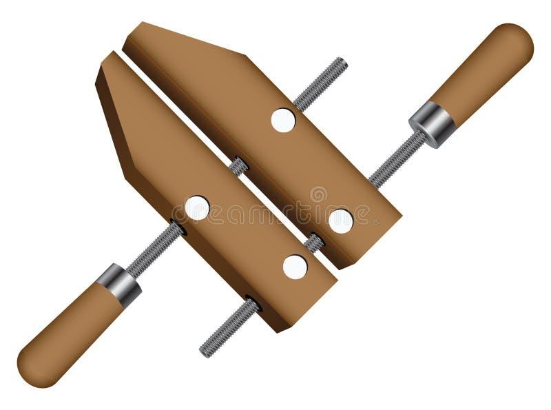 Abrazadera de madera de los tornillos ilustración del vector