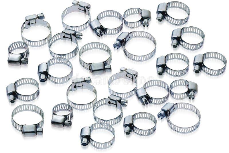 Abrazaderas de manguito del metal de diversas tallas imagen de archivo