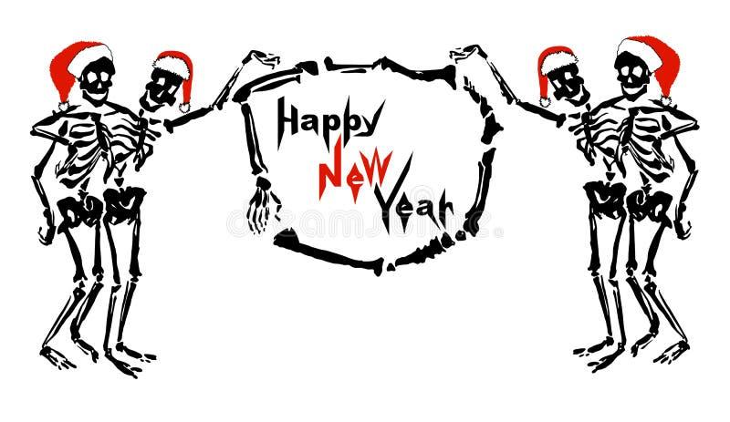 Abrazando los esqueletos en sombreros del ` s de Papá Noel están llevando a cabo el marco con Feliz Año Nuevo de la inscripción libre illustration