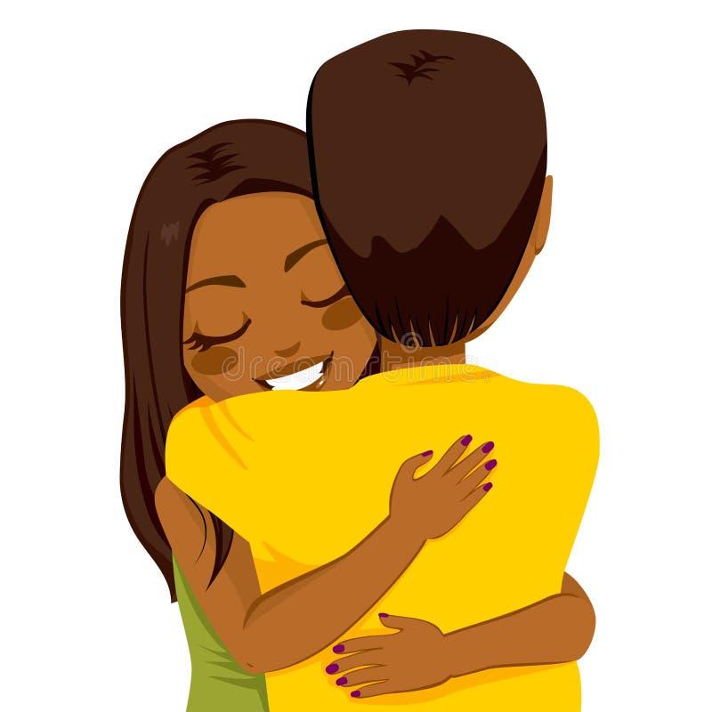 Abrazo afroamericano de la mujer stock de ilustración