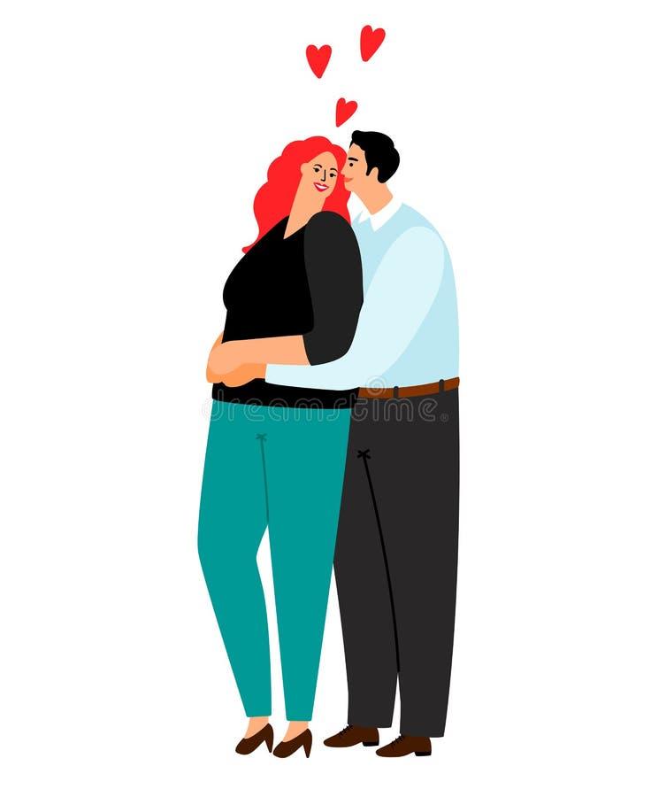 Abrazo cariñoso de los pares aislado en el fondo blanco ilustración del vector