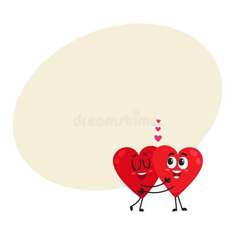 Abrazo de dos corazones, abrazándose, pares en concepto del amor ilustración del vector
