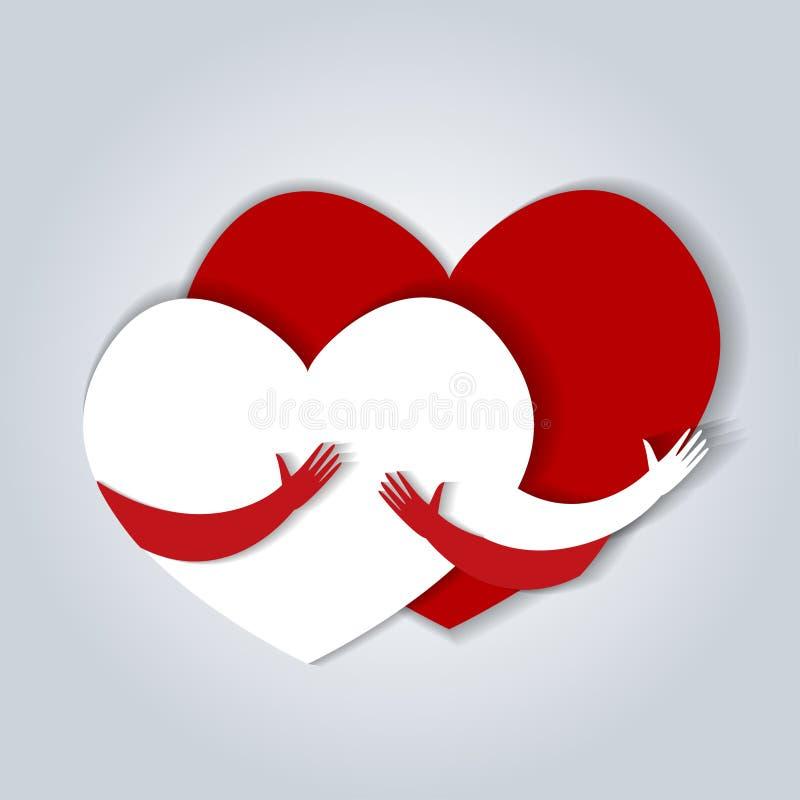 Abrazo de dos corazones Ejemplo del vector en estilo plano ilustración del vector