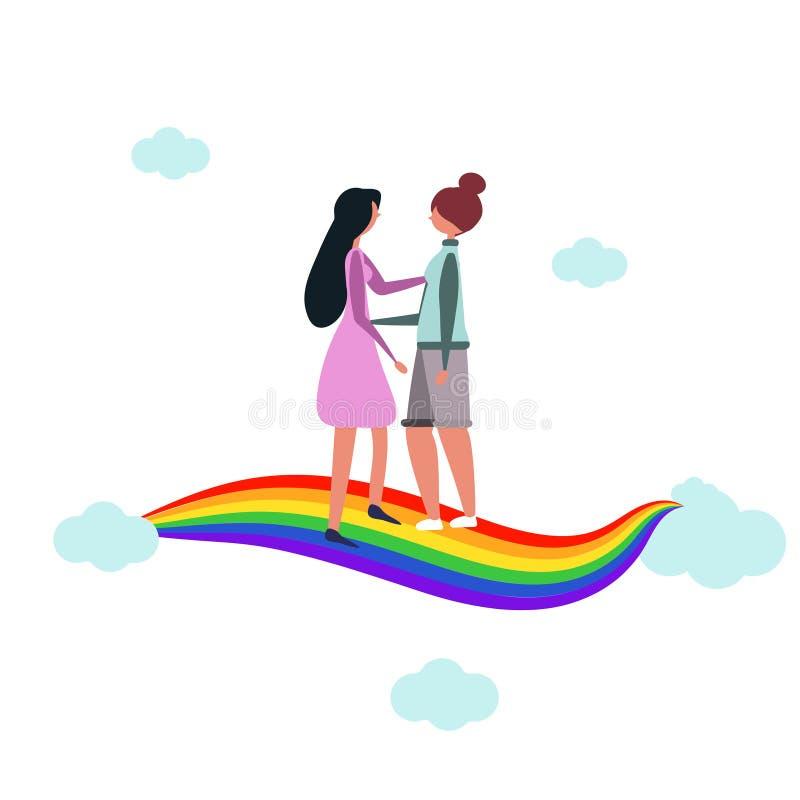 Abrazo de las mujeres Pares lesbianos Reunión sobre el arco iris Lazos cercanos Fechas románticas homosexuales de socios LGBT Vec ilustración del vector