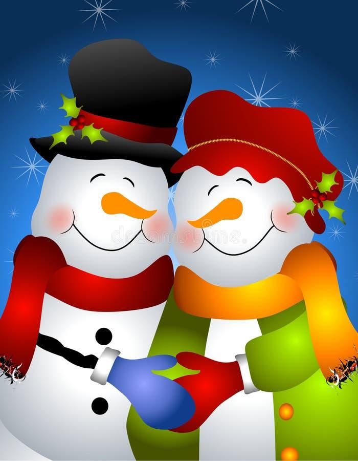 Abrazo de los pares 2 del muñeco de nieve ilustración del vector