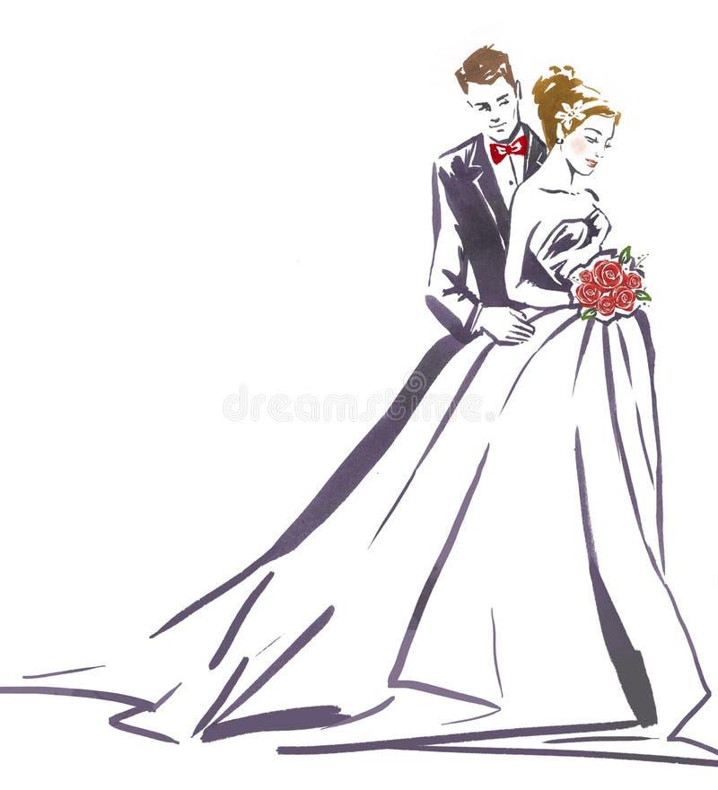 Abrazo de los pares de la boda Silueta de la novia y del novio ilustración del vector