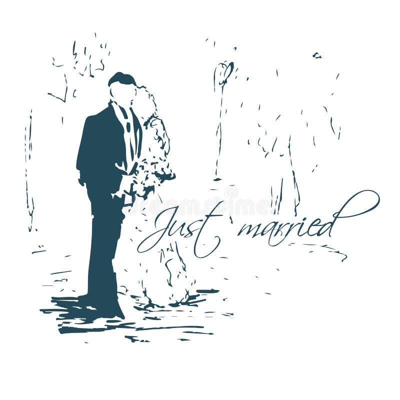 Abrazo de pares boda Apenas bosquejo casado libre illustration