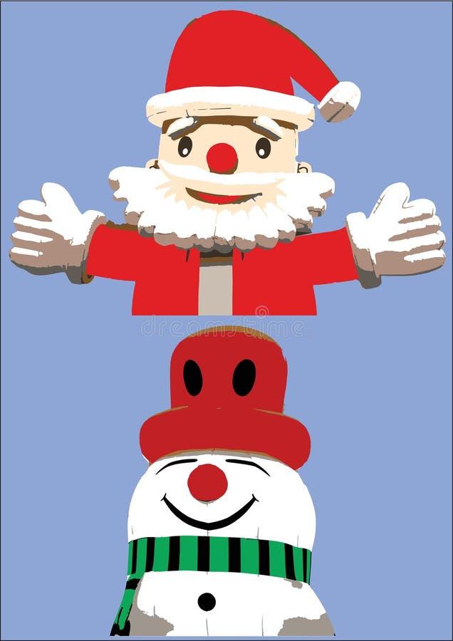 Abrazo de Santa Claus y muñeco de nieve feliz foto de archivo