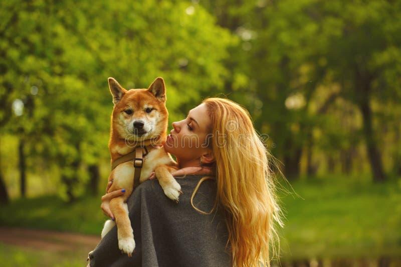 Abrazo de Shiba Inu de la muchacha y del perro fotos de archivo libres de regalías