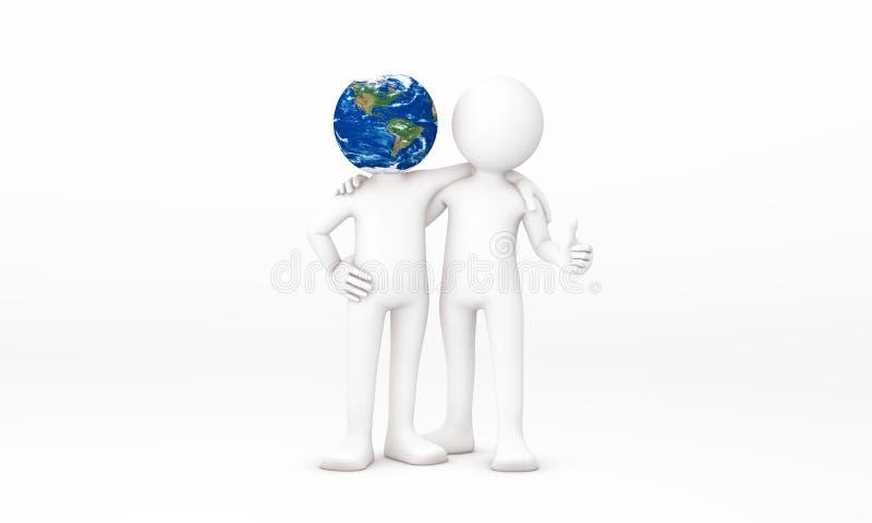 abrazo del hombre 3D la tierra libre illustration