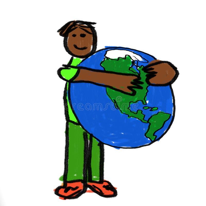 Abrazo del mundo ilustración del vector