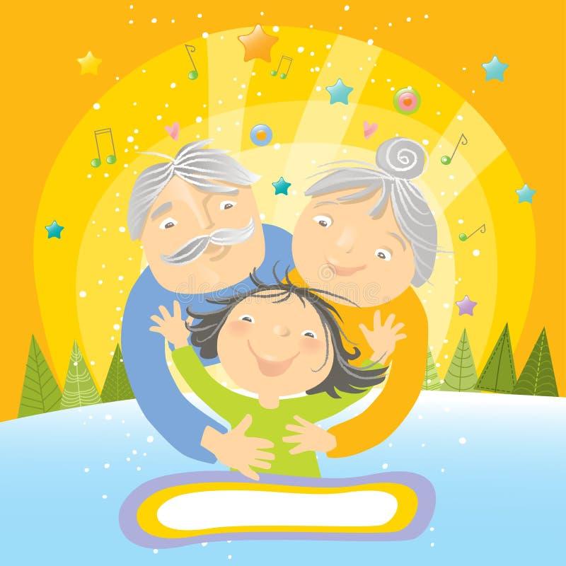 Abrazo grande para los abuelos stock de ilustración