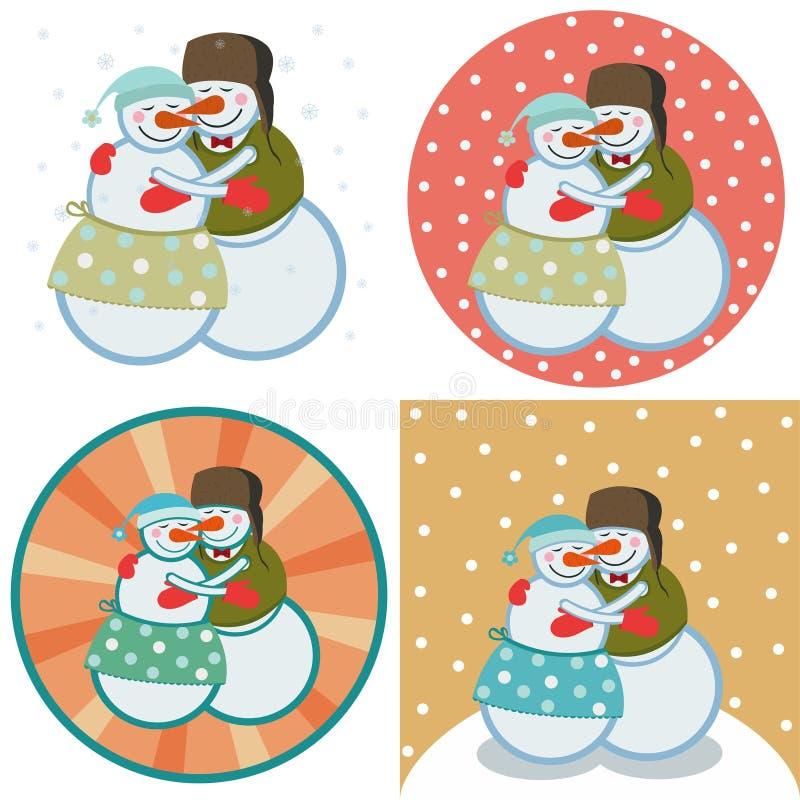 Abrazo lindo de los muñecos de nieve imágenes de archivo libres de regalías