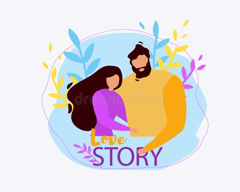 Abrazo Love Story de los pares de la mujer del hombre de la historieta junto ilustración del vector