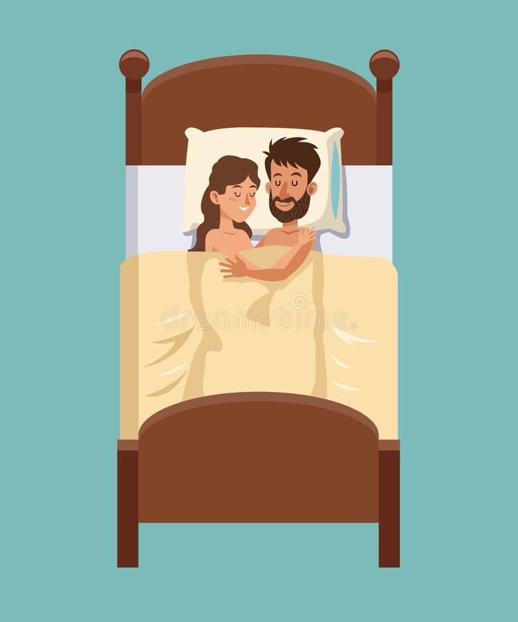 Abrazos de los sueños de los pares en la sonrisa de la cama ilustración del vector