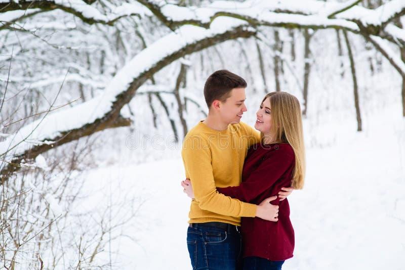 Abrazos jovenes de los pares en bosque del invierno imagen de archivo libre de regalías