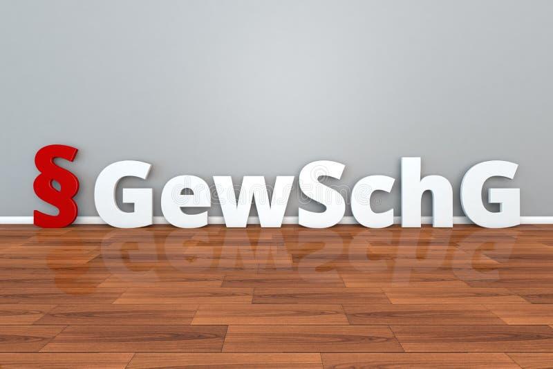 Abreviatura alemão de GewSchG da lei para a lei na proteção civil contra a ilustração dos ato de violência e das aplicações 3d ilustração royalty free