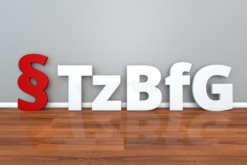 A abreviatura alemão de TzBfG da lei para a lei no trabalho de meio expediente e o fixo-termo trabalham a ilustração 3d ilustração royalty free